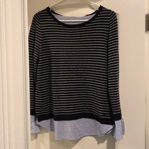 Pull over sweater with built in blouse